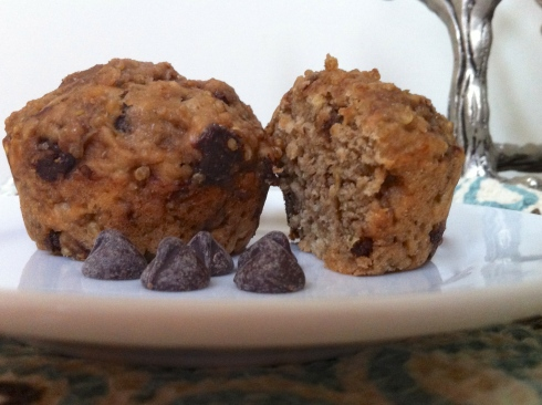quinoa and chocolate chip muffins