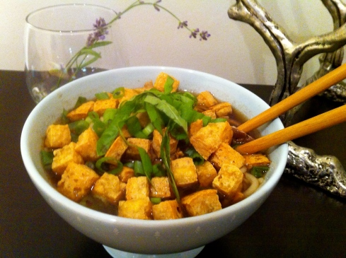 vegetarian pho with tofu croutons